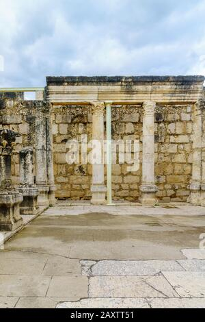 Capernaum, Israel - February 10, 2020: The ancient synagogue of Capernaum, Northern Israel - Stock Photo