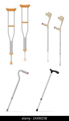 medical telescopic stick crutches vector illustration isolated on white background - Stock Photo