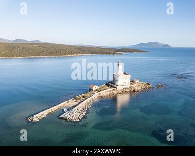 Aerial view of the Lighthouse in the Gulf of Olbia - Stock Photo