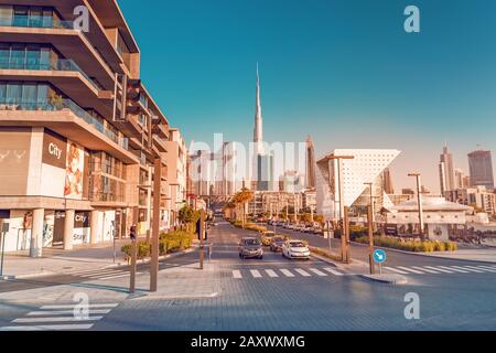 26 November 2019, United Arab Emirates, Dubai: View from the Dubai City Walk district on the skyscrapers of downtown and the highest building in the w - Stock Photo