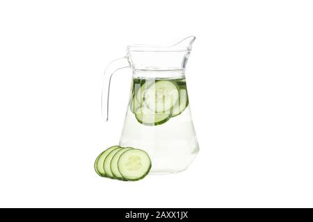 Jug with infused cucumber water isolated on white background - Stock Photo