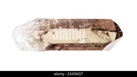 raw crystal of smoky quartz cutout on white background - Stock Photo