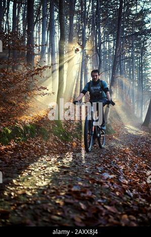 Mountain biking on Medvednica, near Zagreb in Croatia - Stock Photo