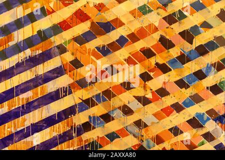 Abstract image of diagonal coloured stripes with dripping paint - Stock Photo
