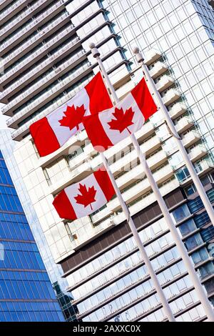 Three Canadian flags blowing in a stiff breeze on the Vancouver waterfront - Stock Photo