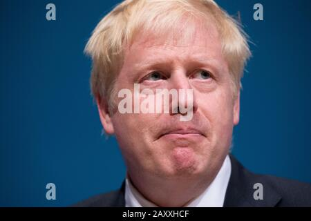 Perth, UK. 5 July 2019.  PICTURED: Boris Johnson MP Conservative leadership contenders Boris Johnson and Jeremy Hunt are to face Scottish party members at a hustings event in Perth.  The hustings in Perth is the latest in a series of events around the UK which see the two candidates make a speech to local members before taking questions from a host and the audience.  Party members should receive their ballots in the coming days, with the winner to be announced on 23 July. Credit: Colin Fisher/Alamy Live News - Stock Photo