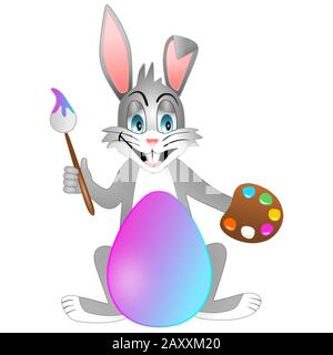 Isolated easter bunny. Rabbit who is painting easter egg - Stock Photo