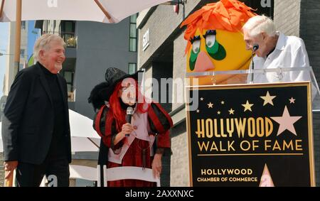 Los Angeles, United States. 13th Feb, 2020. Puppeteers Sid (L) and Marty Krofft make comments during an unveiling ceremony honoring them with the 2,687th star on the Hollywood Walk of Fame in Los Angeles on Thursday, February 13, 2020. Photo by Jim Ruymen/UPI Credit: UPI/Alamy Live News - Stock Photo