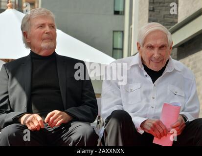 Los Angeles, United States. 13th Feb, 2020. Puppeteers Sid (L) and Marty Krofft listen to comments during an unveiling ceremony honoring them with the 2,687th star on the Hollywood Walk of Fame in Los Angeles on Thursday, February 13, 2020. Photo by Jim Ruymen/UPI Credit: UPI/Alamy Live News - Stock Photo
