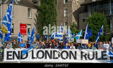 Perth, UK. 5 July 2019.  PICTURED: Protest outside the Concert Hall where the hustings were taking place. Conservative leadership contenders Boris Johnson and Jeremy Hunt are to face Scottish party members at a hustings event in Perth.  The hustings in Perth is the latest in a series of events around the UK which see the two candidates make a speech to local members before taking questions from a host and the audience.  Party members should receive their ballots in the coming days, with the winner to be announced on 23 July. Credit: Colin Fisher/Alamy Live News - Stock Photo