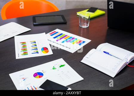 Financial reports and charts on a office meeting office - Stock Photo