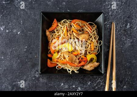 Top view of vegan stir fry noodles - Stock Photo