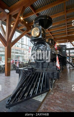 Restored CPR Engine 374 at the Roundhouse in Yaletown, Vancouver, British Columbia, Canada - Stock Photo