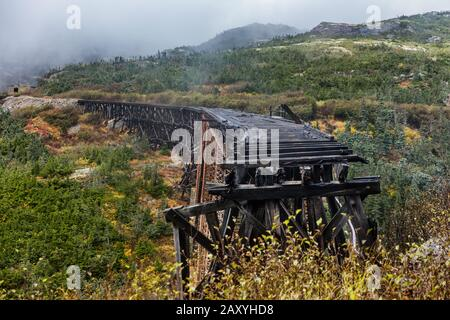 Old steel bridge on White Pass and Yukon Route Railway train ride, Skagway, Alaska, USA. Constructed in 1901. Famous tourist attraction on cruise shore excursion. - Stock Photo