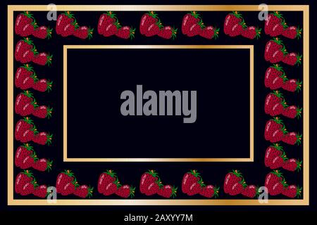 Gold frame strawberry tea, wine or alcohol label package. Fruit tag for food products, juice, jam, ice cream, smoothies, yogurt, soap, cosmetics.Vector - Stock Photo