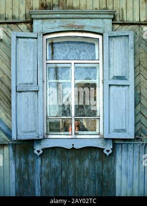 Siberian wooden windows - Stock Photo