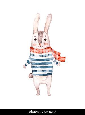 Watercolor nursery illustration with blue nautical animal rabbit bunny. Nautical poster. Fashion illustration. Baby illustration design. Hello summer. - Stock Photo