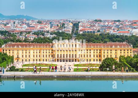 20 July 2019, Vienna, Austria: Famous tourist attraction and landmark - Schonbrunn royal palace building, aerial view from the hill - Stock Photo