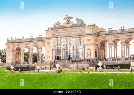 20 July 2019, Vienna, Austria: Famous Gloriette building in Schoenbrunn imperial palace - Stock Photo