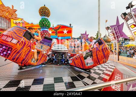20 July 2019, Vienna, Austria: Fun adults and children attractions in the iconic Prater Park in Vienna - Stock Photo