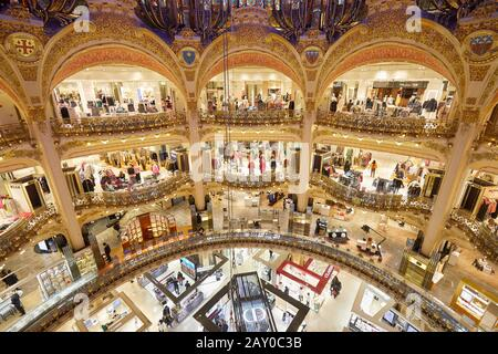 PARIS - NOVEMBER 6, 2019: Galeries Lafayette high angle view interior with Christian Dior shop in Paris