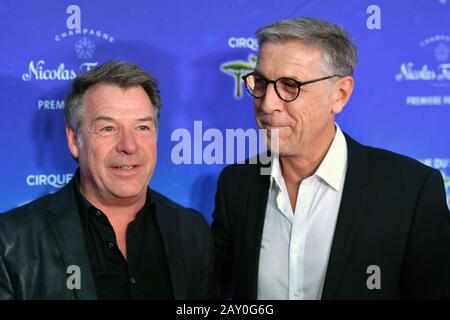 from left: Patrick LINDNER (pop singer), Peter SCHAEFER. Red carpet, red carpet, arrival. TOTEM by Cirque du Soleil, on February 13th, 2020 in Munich,   usage worldwide - Stock Photo