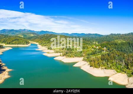 Croatia, Risnjak mountain and Lokvarsko lake in Gorski kotar, panoramic view - Stock Photo