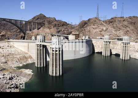 Hoover Dam at Lake Mead, near Las Vegas, Nevada, South West USA - Stock Photo
