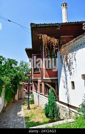 Bulgaria, Plovdiv, building in traditional structure on narrow cobbled street in Old Town district aka Staria Grad, city became Europen Capital of Cul - Stock Photo