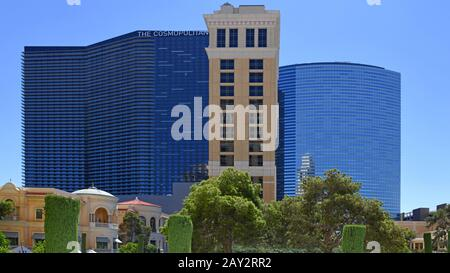 Las Vegas NV, USA 09-26-18 View of 3 emblematic hotels from left to right the Cosmopolitan, Bellagio and the Vdara Hotel & Spa - Stock Photo