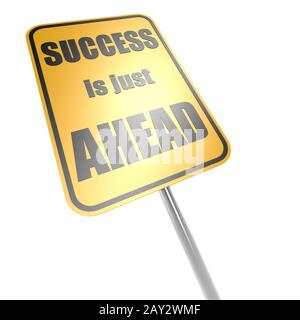Success is just ahead road sign - Stock Photo
