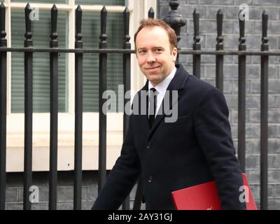 London, UK. 14th Feb, 2020. Health Secretary Matt Hancock arriving for the extraordinary Cabinet Meeting following a reshuffle. Credit: Uwe Deffner/Alamy Live News - Stock Photo