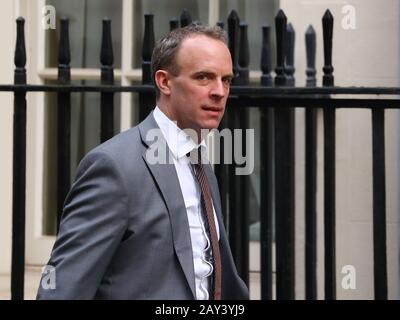 London, UK. 14th Feb, 2020. Foreign Secretary Dominic Raab arriving for the extraordinary Cabinet Meeting following a reshuffle. Credit: Uwe Deffner/Alamy Live News - Stock Photo