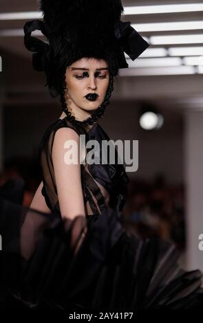 London, UK. 14th Feb, 2020. A model walks the runway at On|Off Presents. catwalk show during the London Fashion Week in London, UK, Feb. 14, 2020. Credit: Han Yan/Xinhua/Alamy Live News - Stock Photo