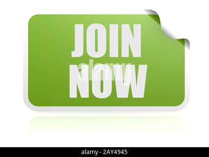 Join now green sticker - Stock Photo