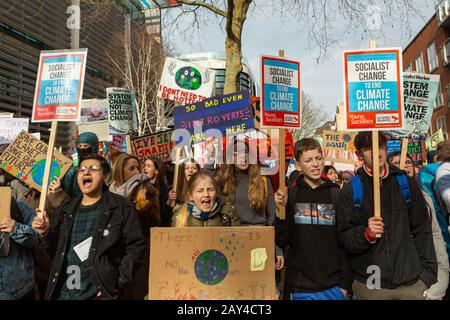 Westminster, London, UK. 14th Feb, 2020. The one year anniversary of the first UK climate strike, students take to the streets of the capital to demand climate action. Penelope Barritt/Alamy Live News - Stock Photo