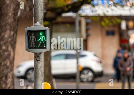 Pedestrian semaphore with a permissive green signal - image - Stock Photo