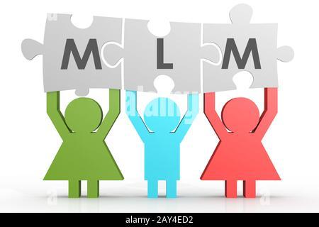 MLM - Multi Level Marketing puzzle in a line - Stock Photo