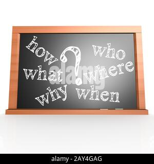 Where, When, What, Who, Why, How written with Chalk on Blackboard - Stock Photo