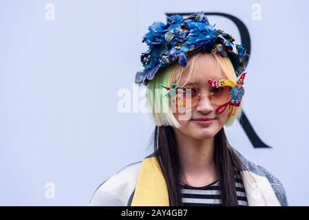 Strand, London, UK. 14th Feb, 2020. London Fashion Week 2020 has commenced at The Store X in the Strand. Models and visitors have been strutting their stuff in the streets outside as fashionistas and the public arrive - Stock Photo