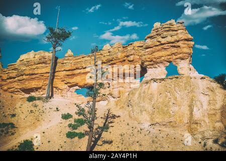 Natural arches along Mossy Cave Trail near Bryce Canyon, Utah. - Stock Photo