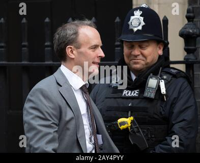 Downing Street, London, UK. 14th February 2020. Dominic Raab MP, Secretary of State for Foreign and Commonwealth Affairs, Foreign Secretary, in Downing Street for weekly cabinet meeting. Credit: Malcolm Park/Alamy. - Stock Photo