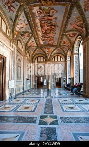 The room of Cupid and Psyche in the Villa Farnesina in Rome, frescoed by Raffaelleo. Italy - Stock Photo