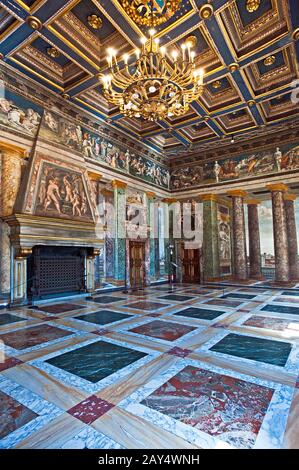 The hall of perspectives in villa Farnesina in Rome. Italy. - Stock Photo