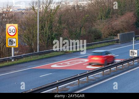 50MPH speed control on the M4 motorway in South Wales - Stock Photo