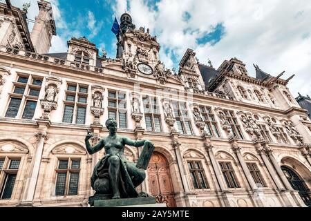 View of the town Hall Hotel de Ville in Paris. Travel attractions and destinations in France. Nowadays this building houses the municipal authorities