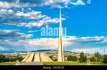 Tsitsernakaberd, the Armenian Genocide memorial complex in Yerevan - Stock Photo