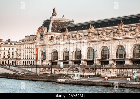 28 July 2019, Paris, France: Orsay building on a bank of Seine river - Stock Photo