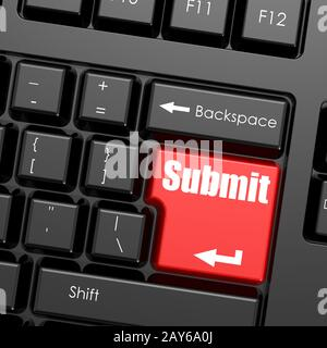 Red enter button on computer keyboard, Submit word - Stock Photo