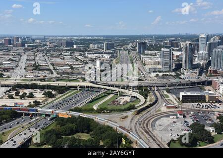 Aerial view of Dallas, Texas, from the Reunion Tower Observation Deck - Stock Photo